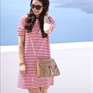 J. CREW Red and White Striped Pont Shift Dress